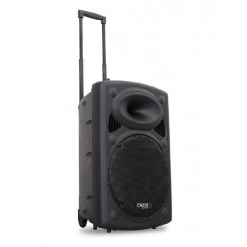 """Mobilny Zestaw Nagłośnieniowy Ibiza Sound 15"""" z USB i 2 Mikrofonami VHF"""