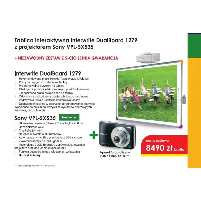 Zestaw Interaktywny - Tablica DuaBoard 1279  + projektor Sony VPL-SX535 z uchwytem + Gratis aparat Sony S5000