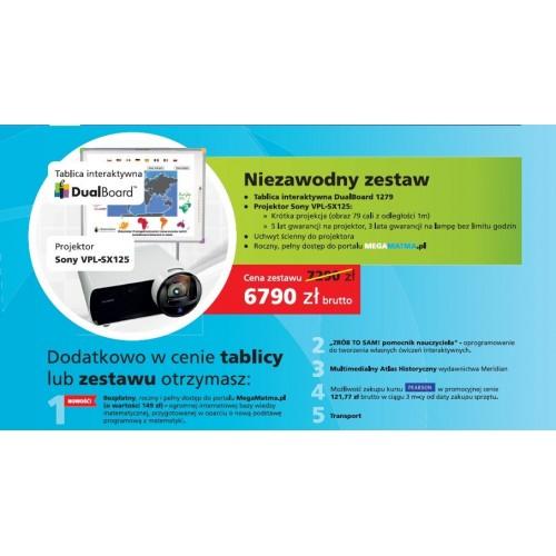 Zestaw interaktywny Tablica Dualboard 1279 + Sony SX125 + liczne gratisy