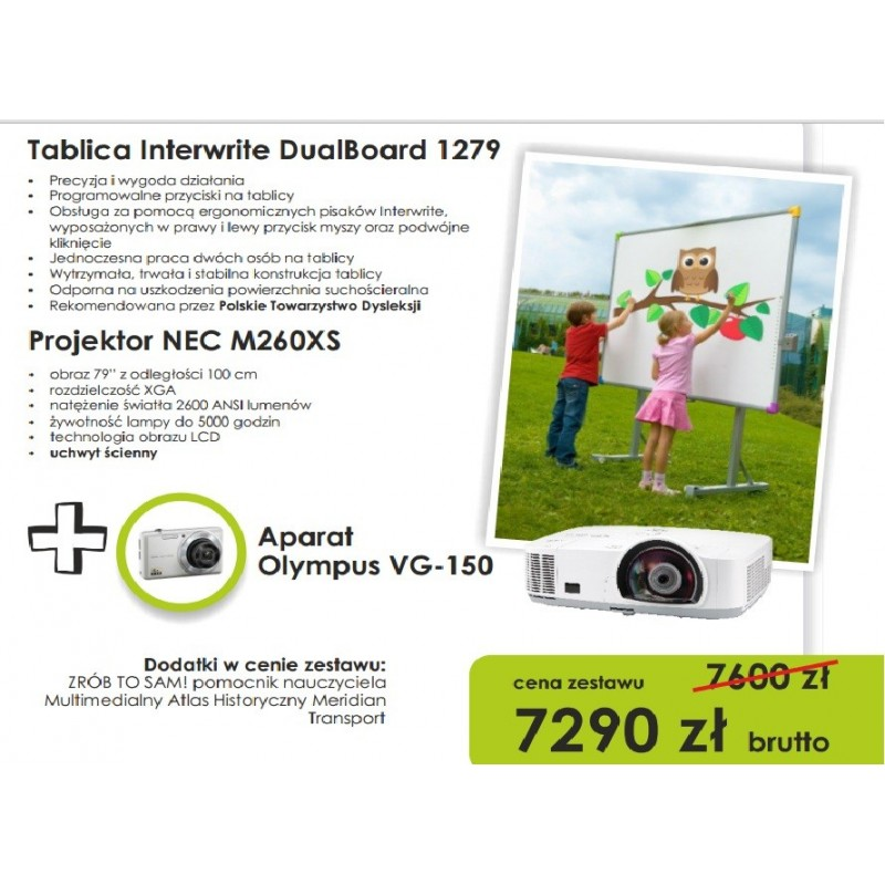Zestaw interaktywny - Interwrite DualBoard 1279 + projektor Nec M260XS + Aparat Olympus