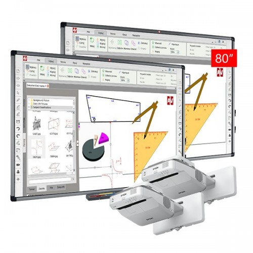 Dwa zestawy interaktywne ultra krótkoogniskowe Avtek TT-Board 80 + EB-680