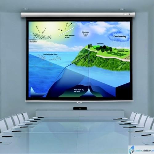 Ekran projekcyjny SUPREMA FENIKS 1:1 ręcznie rozwijany Matt White