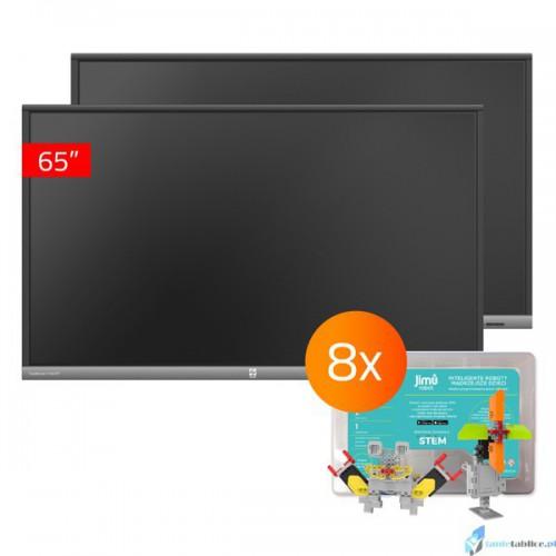 Zestaw interaktywny 2 x monitor interaktywny Avtek TouchScreen 5 Lite 65 + 8 x robot interaktywny Jimu Box