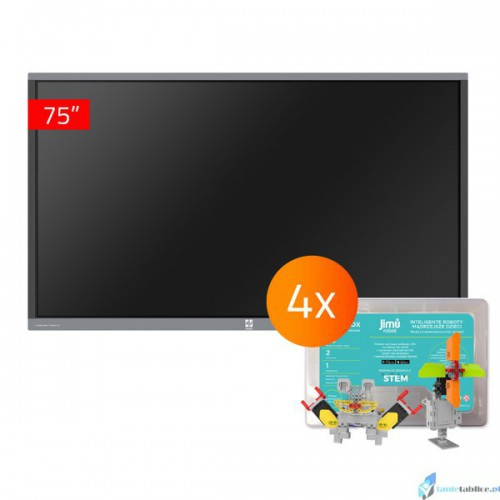 Zestaw interaktywny 1 x monitor interaktywny Avtek TouchScreen 5 Connect 75 + 4 x robot interaktywny Jimu Box