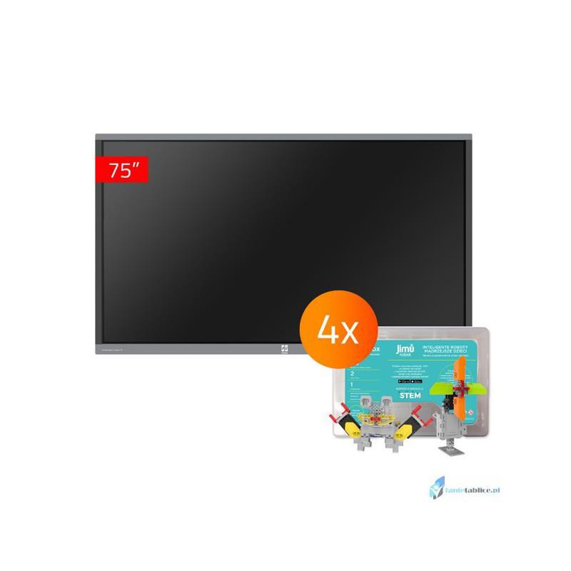 Zestaw interaktywny 1 x monitor interaktywny Avtek TouchScreen 5 Connect 75 + 4 x robot interaktywny Jimu Box