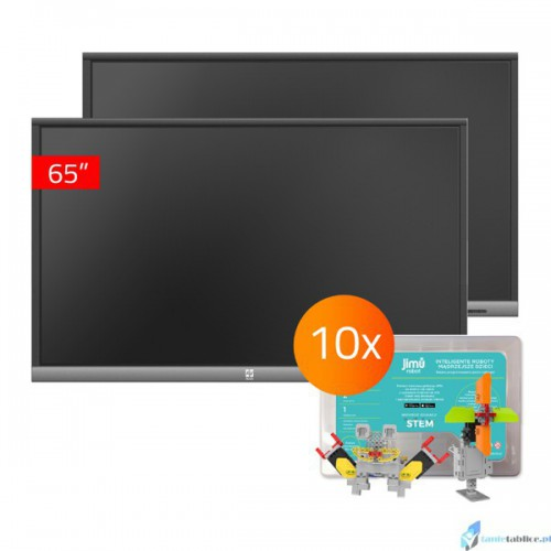 Zestaw interaktywny 2 x monitor interaktywny Avtek TouchScreen 5 Lite 65 + 10 x robot interaktywny Jimu Box