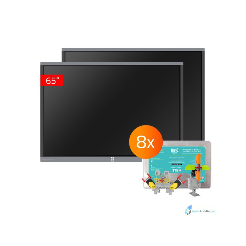 Zestaw interaktywny 2 x monitor interaktywny Avtek TouchScreen 5 Connect 65 + 8 x robot interaktywny Jimu Box