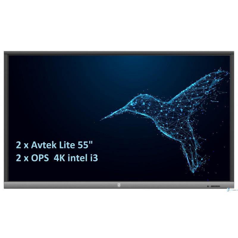 Zestaw interaktywny 2 x monitor interaktywny Avtek TouchScreen 5 Lite 55 + 2 x komputer OPS 4K intel i3