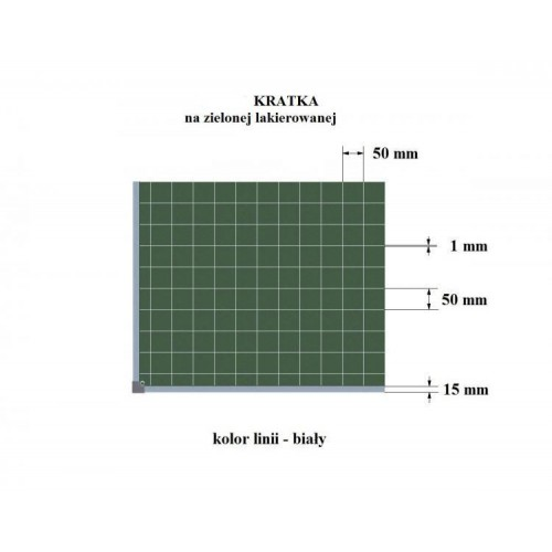 Tablica kredowa suchościeralna i magnetyczna lakierowana z nadrukiem w kratkę 170x100